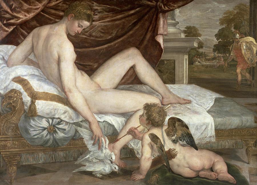 Venus Painting - Venus And Cupid by Lambert Sustris