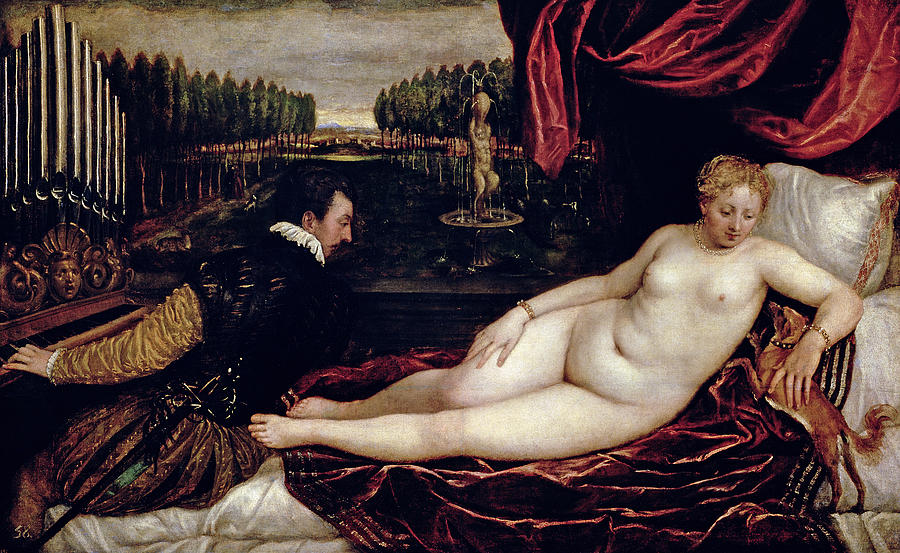 Venus Painting - Venus And The Organist by Titian
