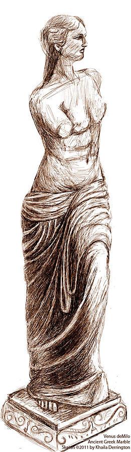 Greek Marble Statue Drawing - Venus Demilo by Khaila Derrington