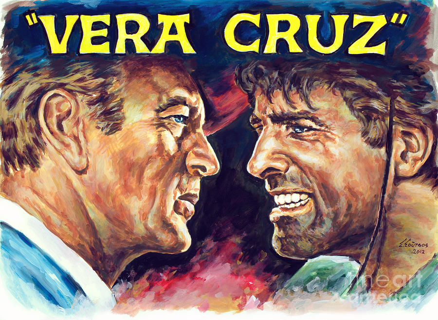 Vera Cruz Burt Lancaster Gary Cooper by Star Portraits Art