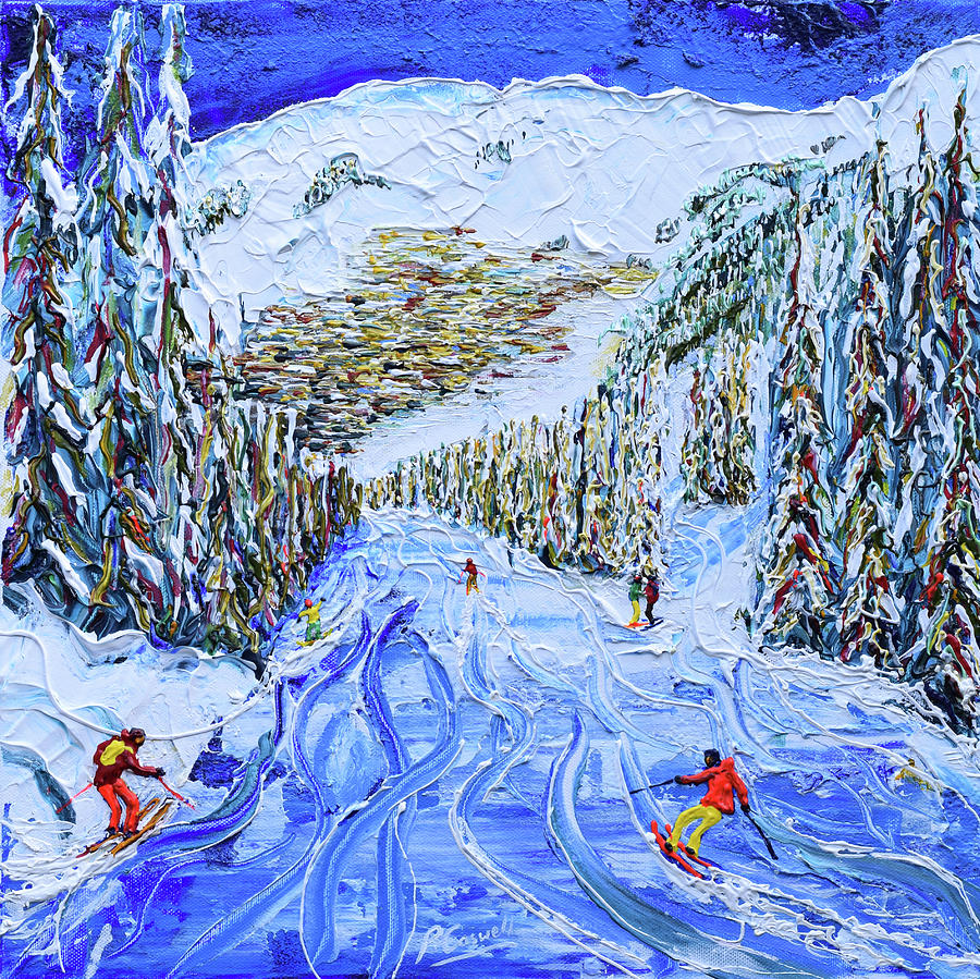 Off Piste Painting - Verbier Town by Pete Caswell