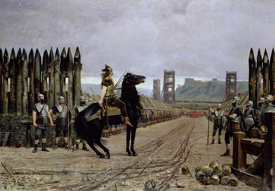 Vercingetorix Painting - Vercingetorix Before Caesar by Henri Paul Motte
