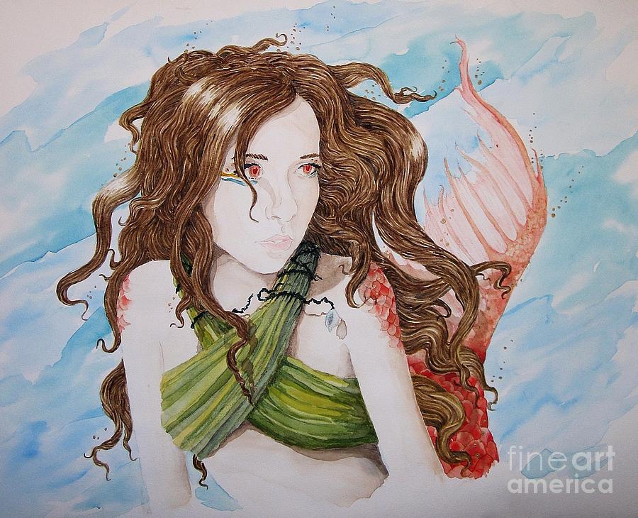 Fantasy Painting - Vermillion Mermaid by Theresa Higby