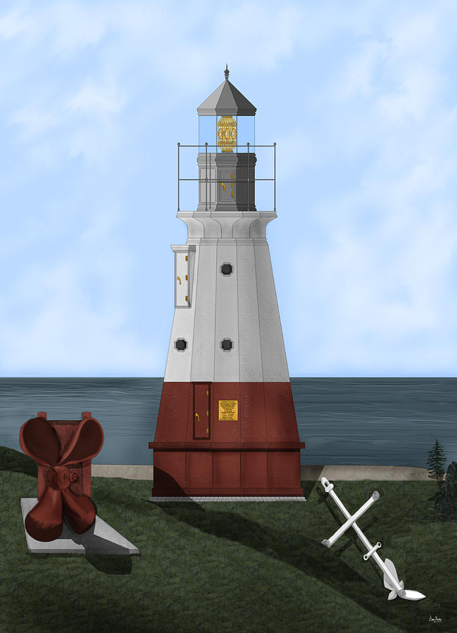Lighthouse Painting - Vermillion River Lighthouse on Lake Erie by Anne Norskog