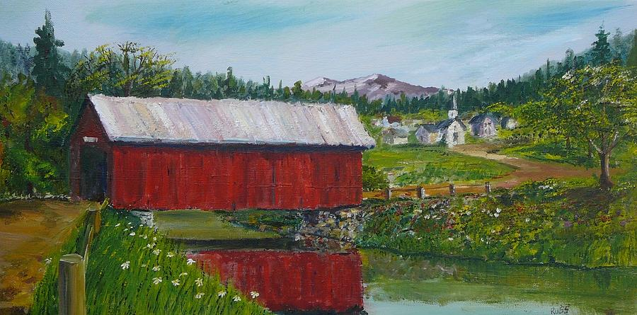 Covered Bridge Painting - Vermont Covered Bridge by Russ Harriger
