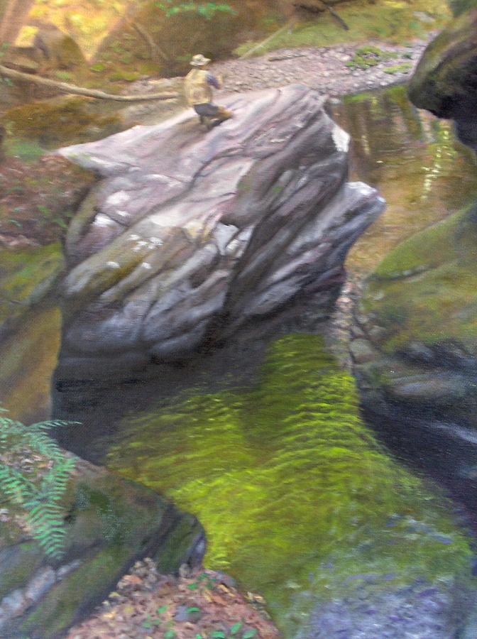 Landscape Painting - Vermont Fisherman by Laurel Ellis