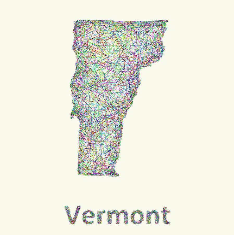 Vermont State Digital Art - Vermont line art map by David Zydd