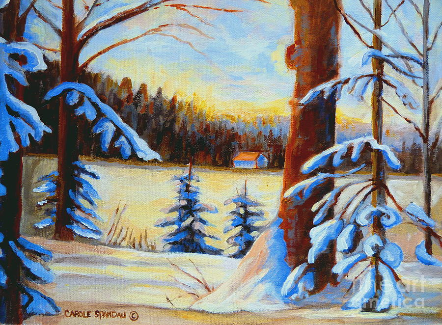 Vermont Painting - Vermont Log Cabin Maple Syrup Time by Carole Spandau