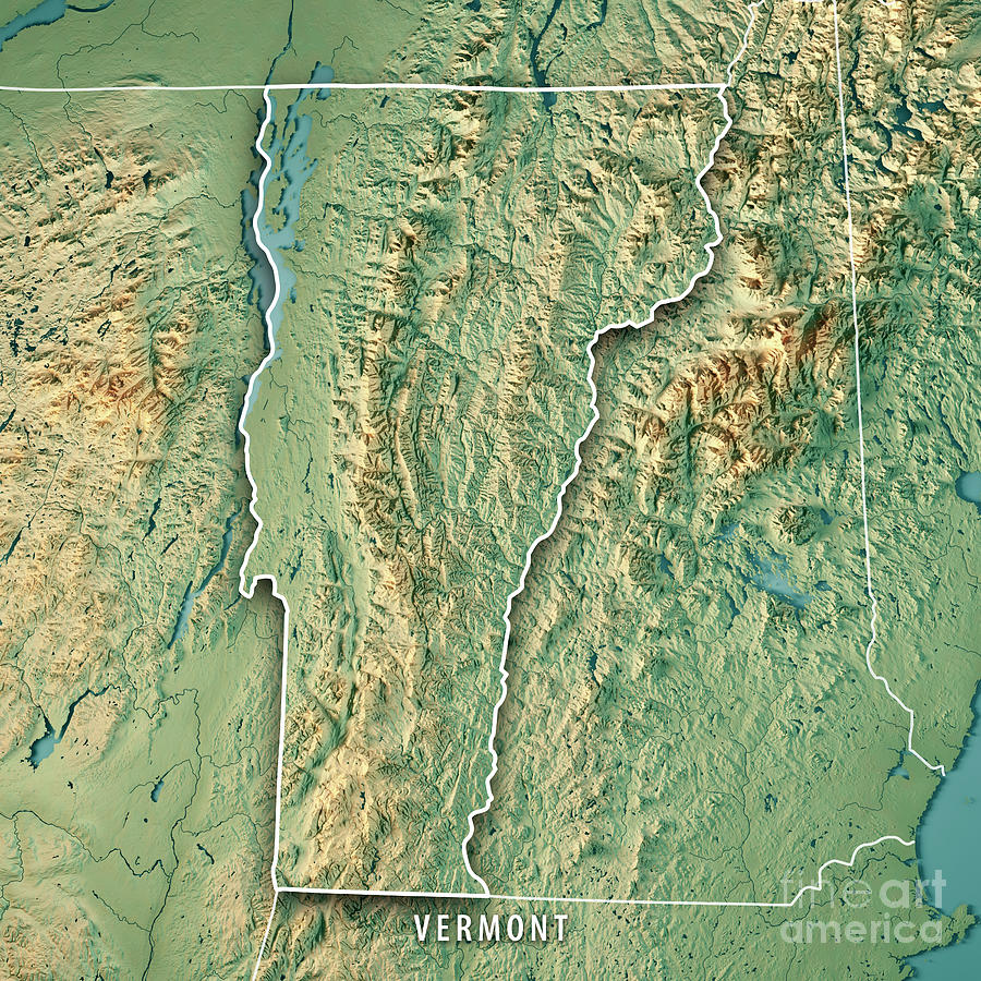 Vermont State Usa 3d Render Topographic Map Border Digital Art by ...