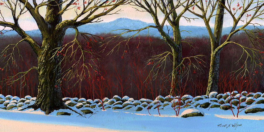 Landscape Painting - Vermont Stone Wall by Frank Wilson