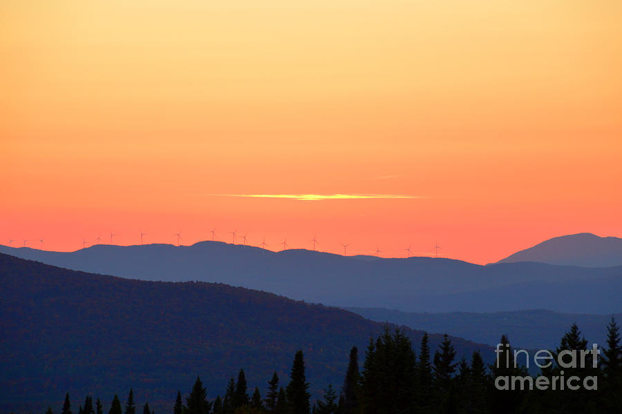 Vermont Photograph - Vermont Sunset With Wind Turbines by Catherine Sherman