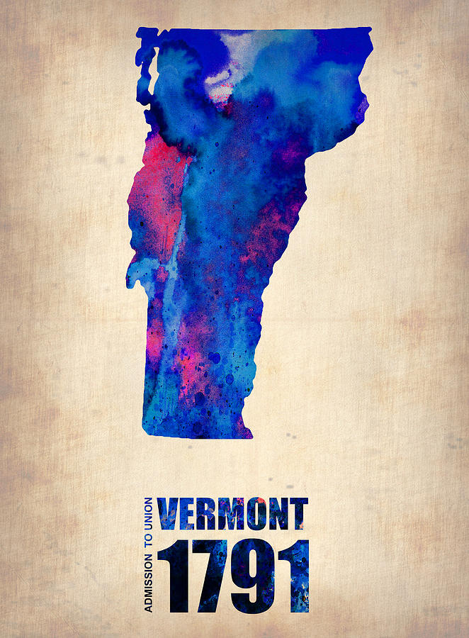 Vermont Digital Art - Vermont Watercolor Map by Naxart Studio