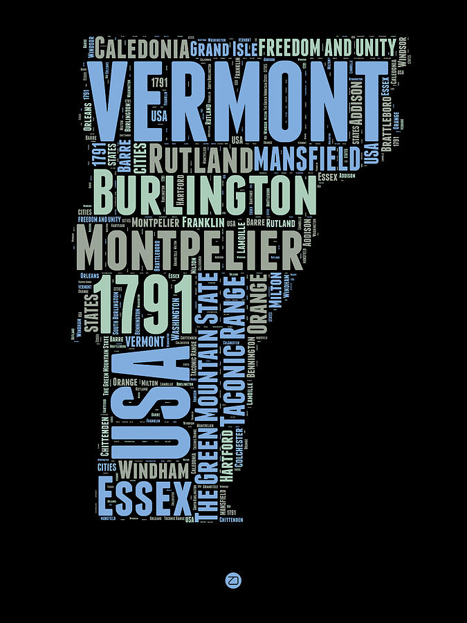 Vermont Digital Art - Vermont Word Cloud 1 by Naxart Studio
