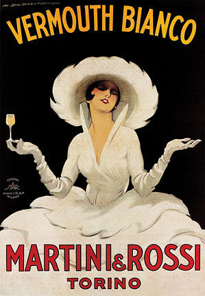 Vintage Print Painting - Vermouth Bianco Martini Rossi by Marcello Dudovich