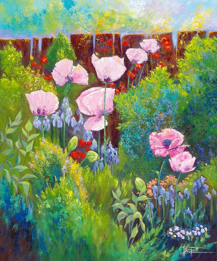 Floral Garden Painting - Verna by Bente Hansen