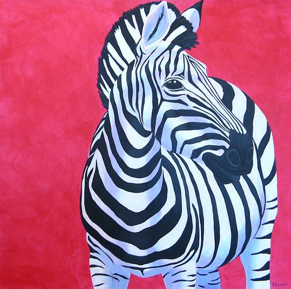Zebra Painting - Vernas Zebra by Scott Gordon