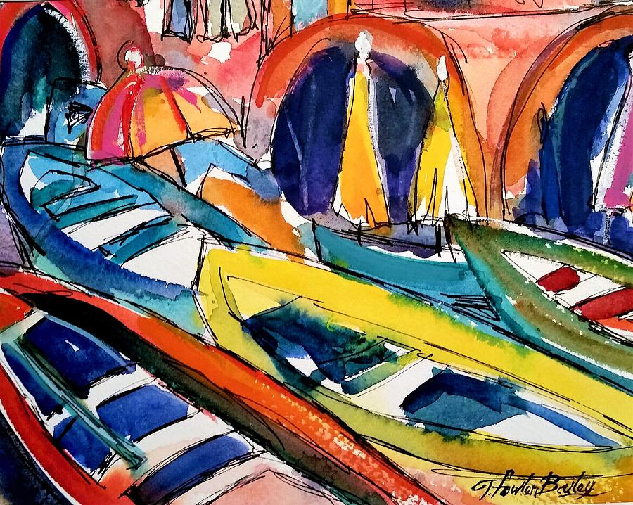 Cinque Terre Painting - Up Close Skiffs Of Manarola  by Therese Fowler-Bailey