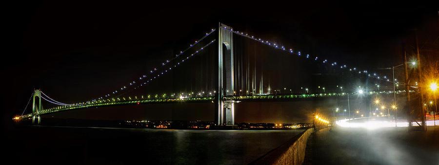Verrazano Bridge And Hudson River At Night Photograph by ...