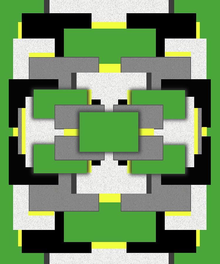 Geometric Digital Art - Vert Moderne by Tara Hutton