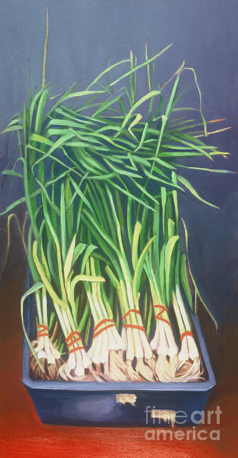 Nyc Painting - Vertical Scallions by Natasha Harsh
