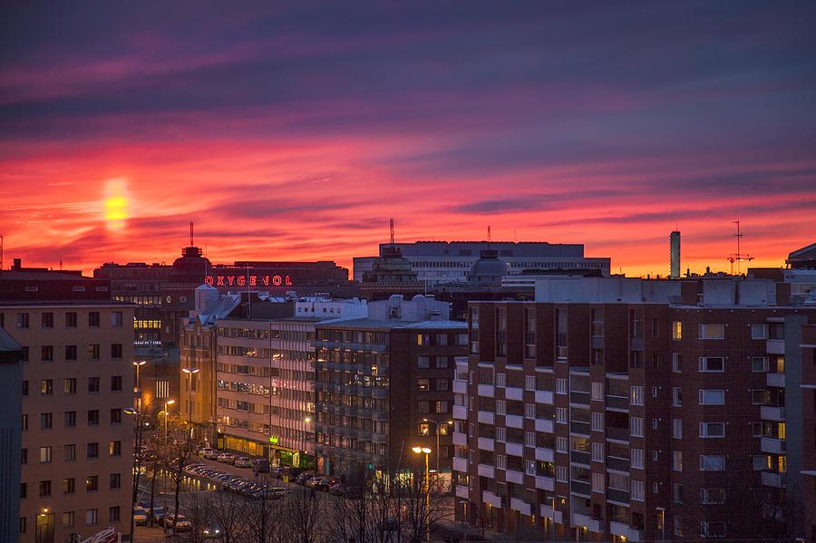 e3d4d32936b Beautiful Photograph - Very Colourful Sunset In Helsinki Finland by Sandra  Rugina