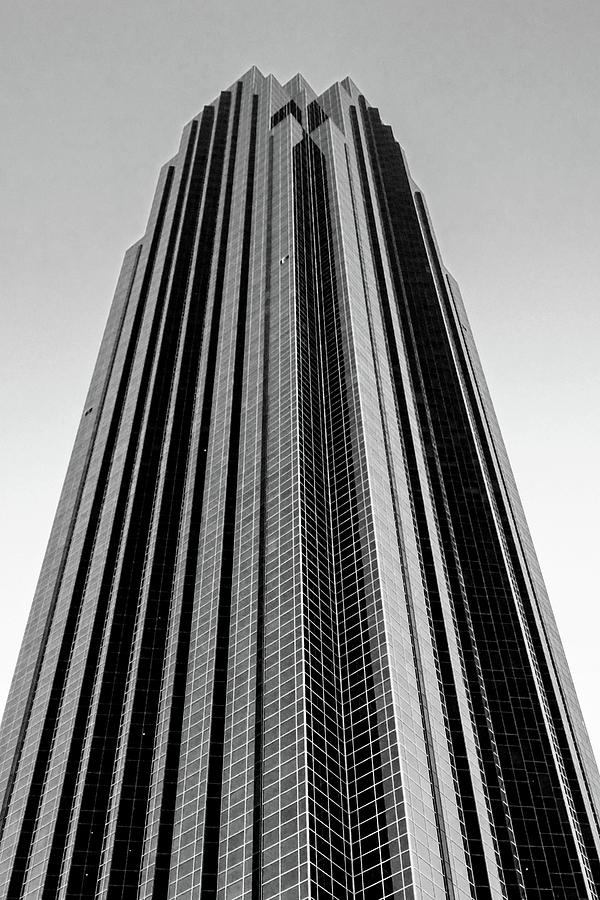 Houston Photograph - Very Tall Building in Black and White by Allen Sheffield