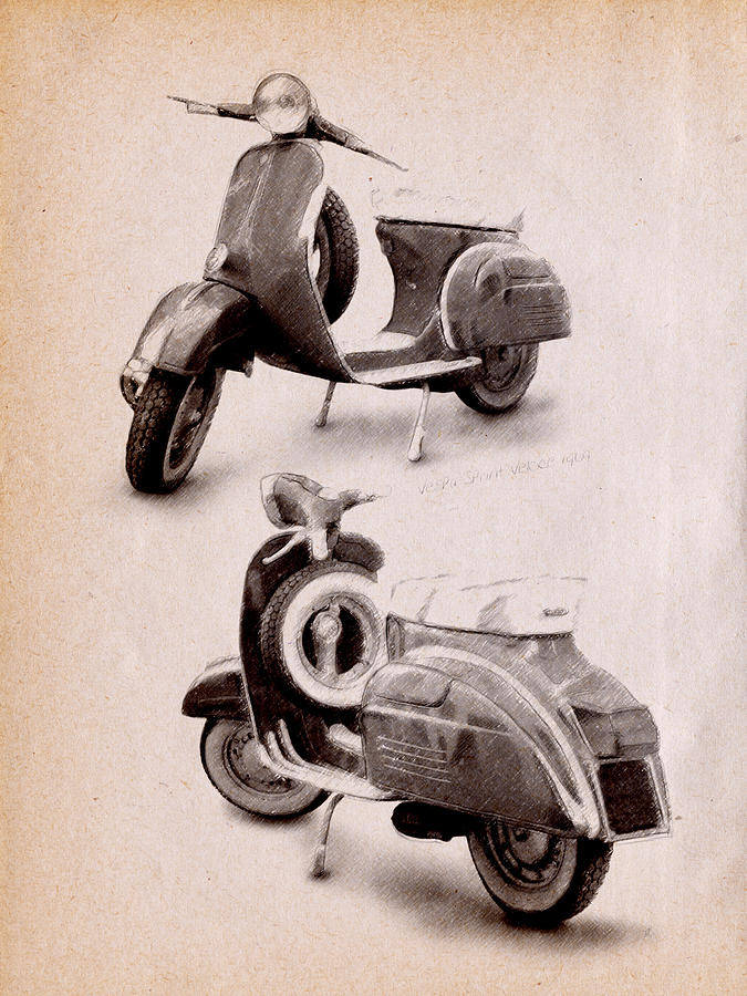 Vespa Scooter Drawing - Vespa Scooter 1969 by Michael Tompsett