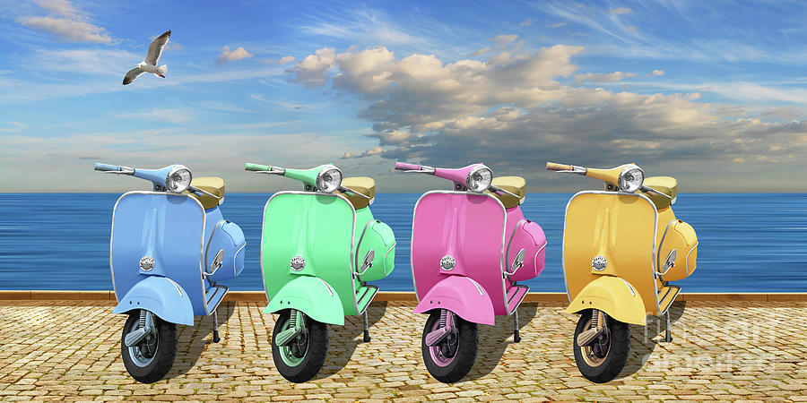 Scooter in bright colors by Monika Juengling