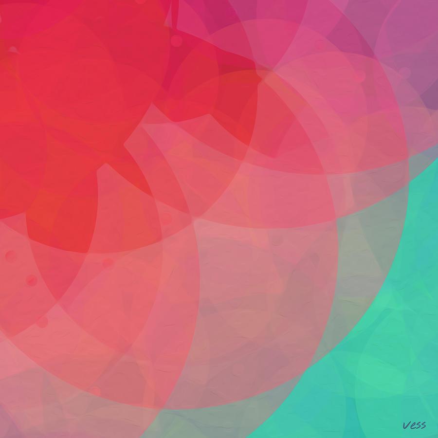 Vess Art Modern Abstract Art Red Giclee Digital Painting Red Green Blue Purple Flower Pastel Lotus Art
