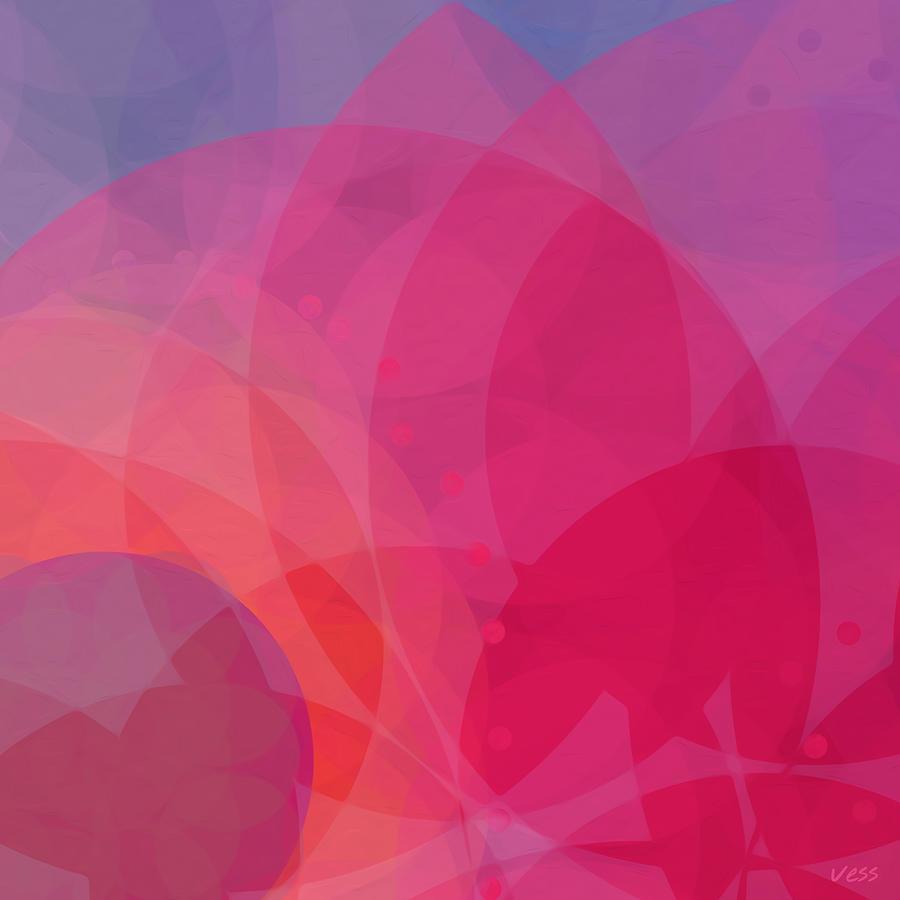 Vess Lotus Art Pink Red Violet Orange Abstract Lotus Flower Painting
