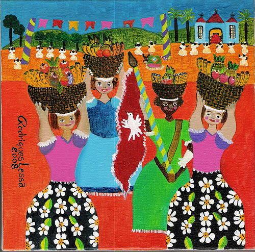 Vestidas Para O Carnaval Painting by Rodrigues Lessa