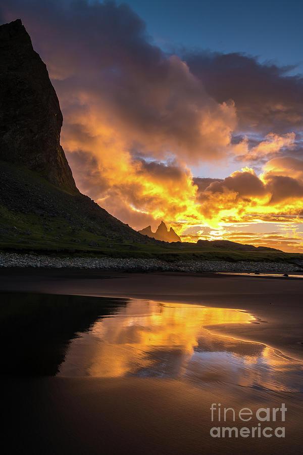 Aldeyjarfoss Photograph - Vestrahorn Fiery Sunrise Reflection by Mike Reid