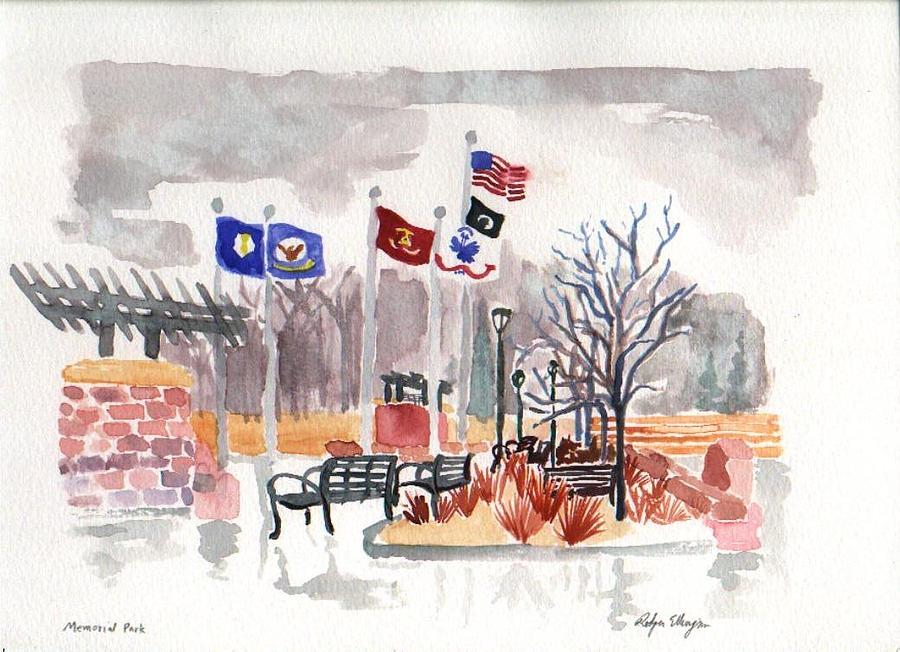Flags Painting - Veterans Memorial Park by Rodger Ellingson
