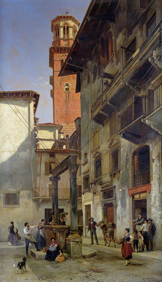 Via Painting - Via Mazzanti In Verona by Jacques Carabain