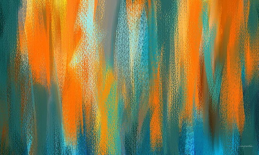 Vibrant Blues Turquoise And Orange Abstract Art Painting