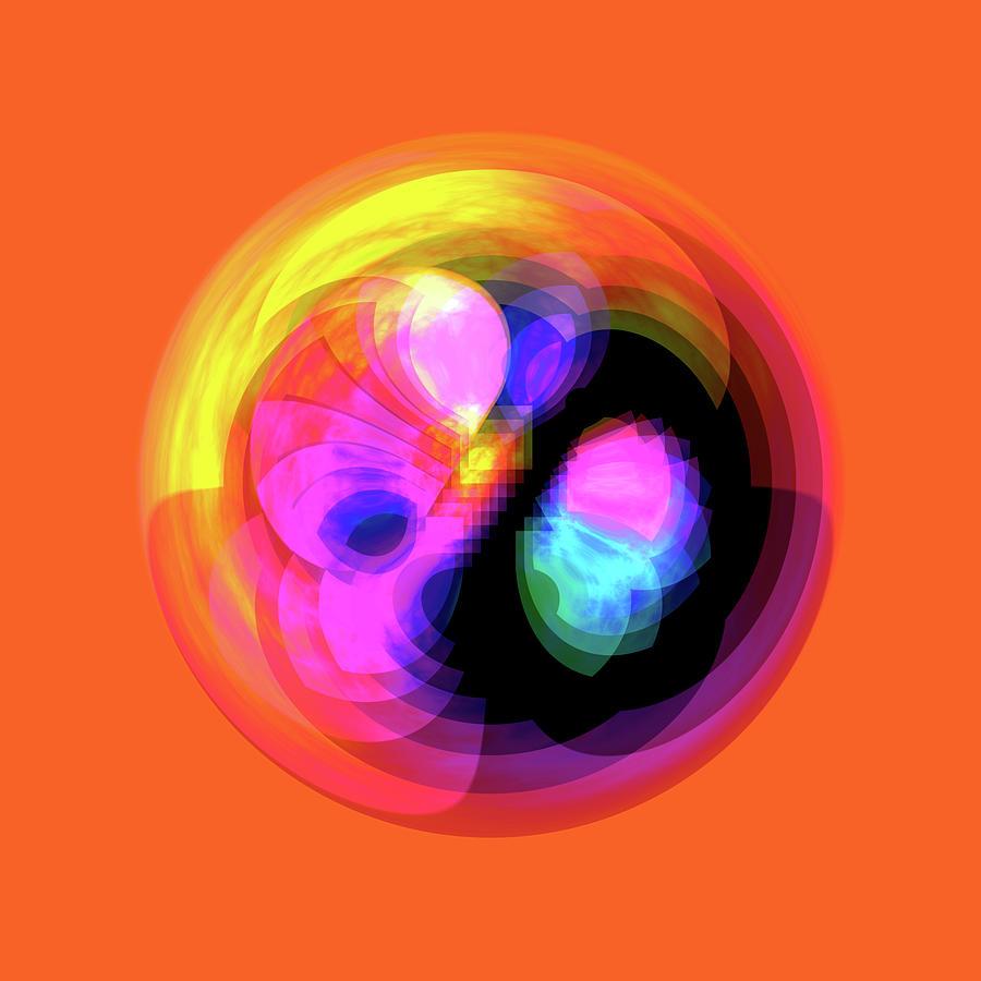 Vibrant Circle on Orange by Judi Suni Hall