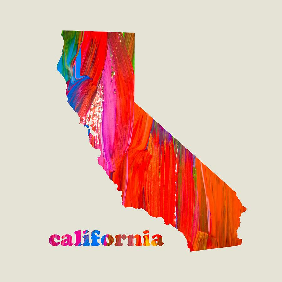 Vibrant Colorful California State Map Painting Mixed Media By - Ca state map