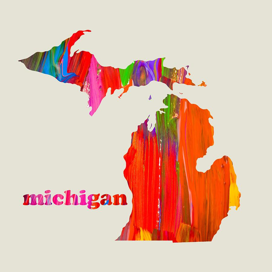 Vibrant Colorful Michigan State Map Painting Mixed Media By Design
