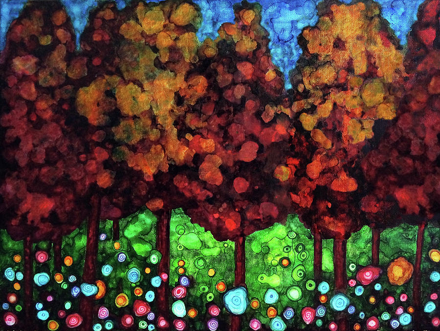 Forest Painting - Vibrant Forest by Jennifer Allison