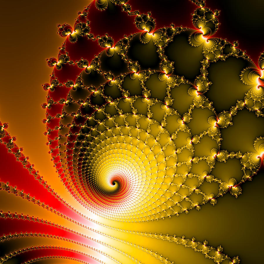 Vibrant Glossy Fractal Spiral Yellow And Red Digital Art by Matthias ...