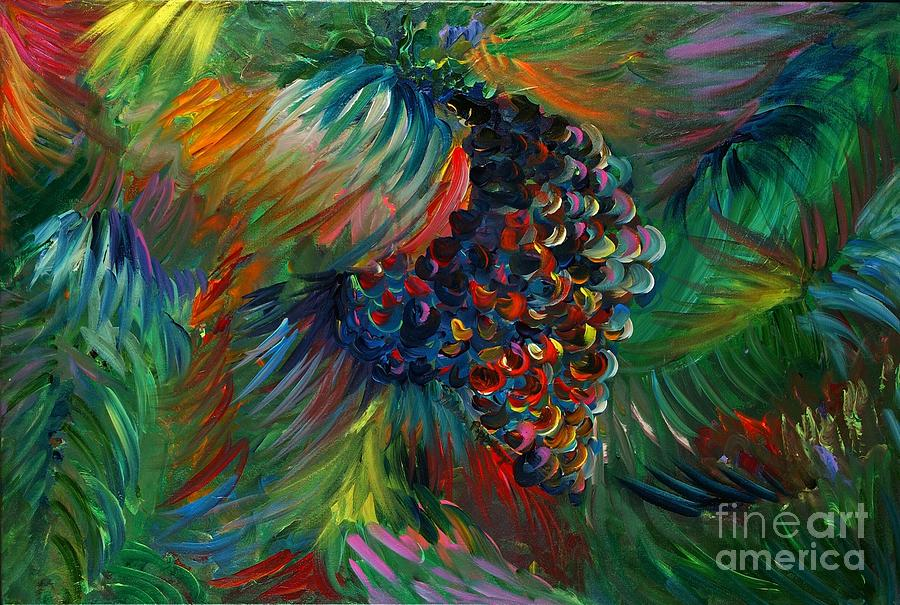 Grapes Painting - Vibrant Grapes by Nadine Rippelmeyer
