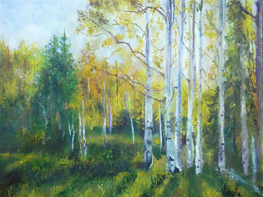 Landscape Paintings Painting - Vibrant Landscape Paintings - Arizona Aspens And Pine Trees - Virgilla Art by Virgilla Lammons
