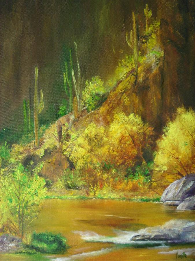 Landscape Paintings Painting - Vibrant Landscape Paintings  - Arizona Canyon Scene - Virgilla Art by Virgilla Lammons