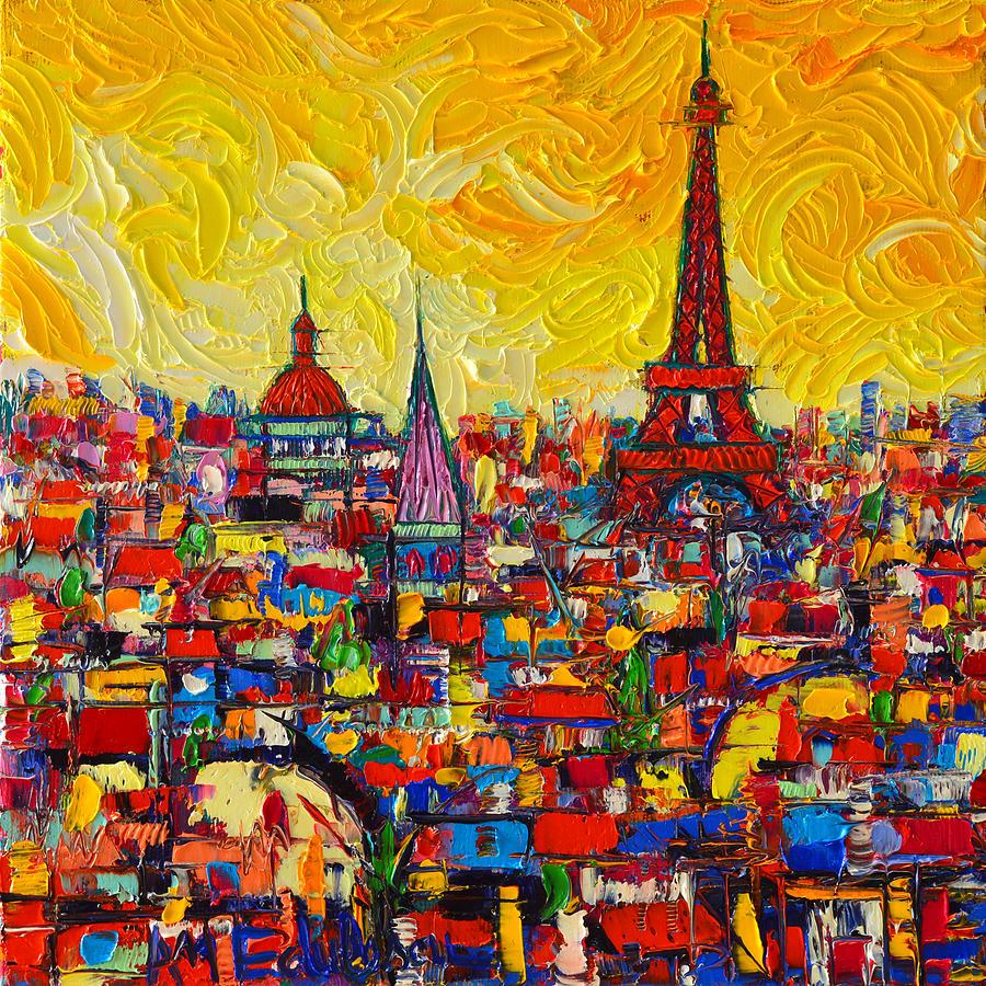 Vibrant Paris Abstract Cityscape Impasto Modern Impressionist ...