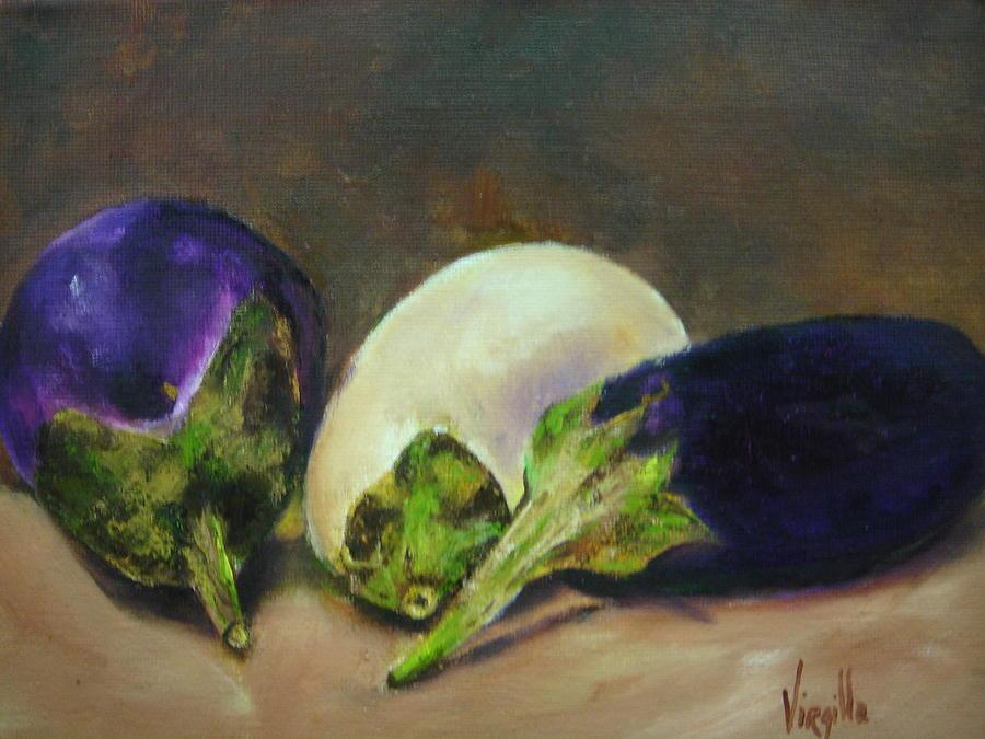 Eggplants Painting - Vibrant Still Life Paintings - Eggplants by Virgilla Lammons