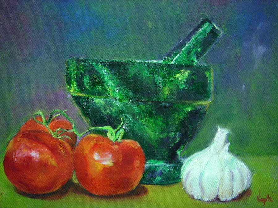 Decorative Paintings Painting - Vibrant Still Life Paintings - Morter Pestle Tomatoes And Garlic by Virgilla Lammons