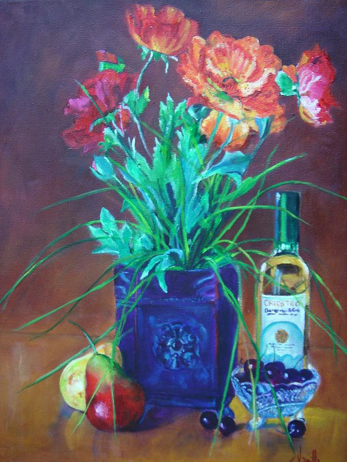 Vibrant Still Life Paintings - Poppies With Fruit And Wine - Virgilla Art Painting by Virgilla Lammons