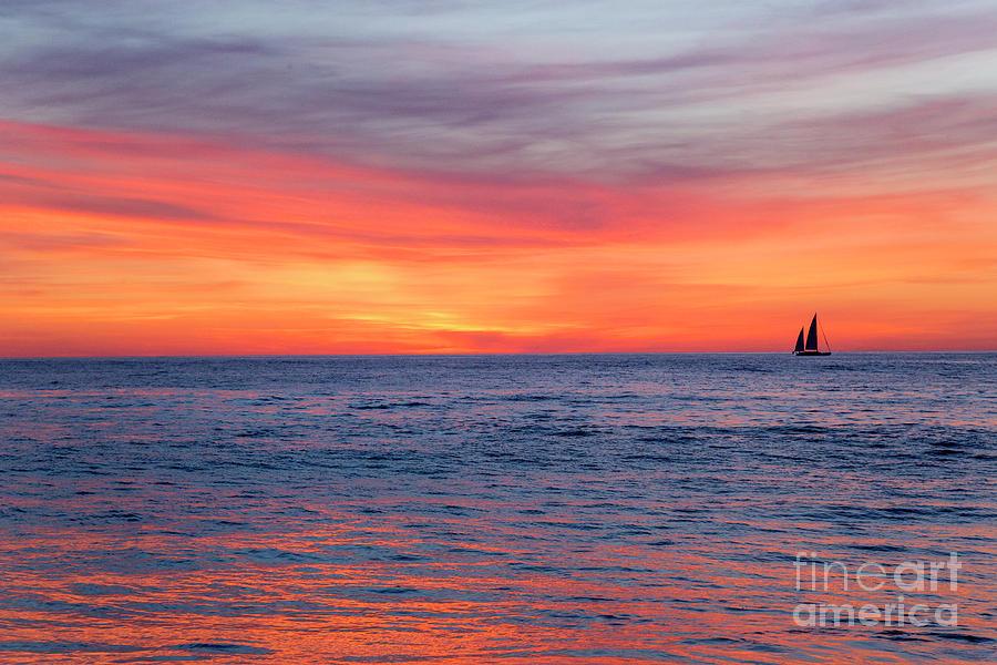 Sunset Photograph - Vibrant Sunset Over Marine Street Beach, La Jolla, California by Julia Hiebaum