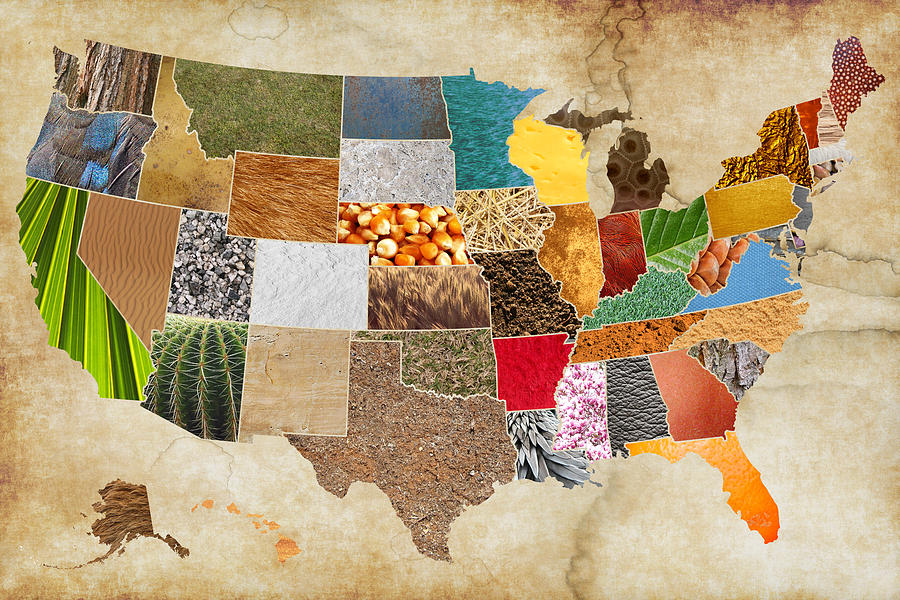 Vibrant Mixed Media - Vibrant Textures Of The United States On Worn Parchment by Design Turnpike