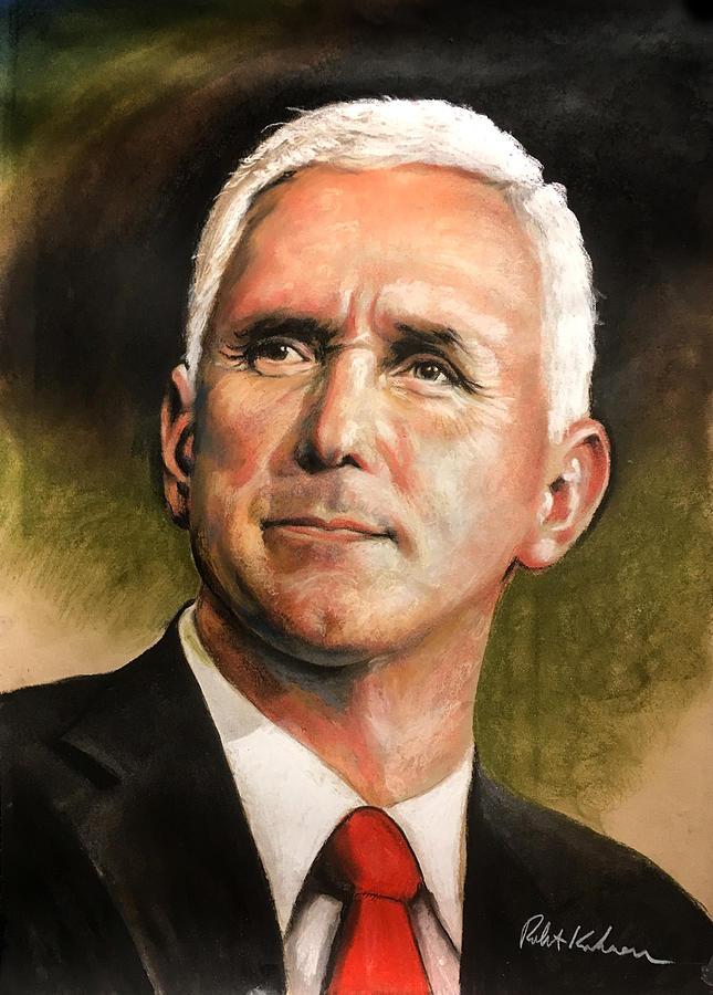 Vice President Mike Pence Portrait Drawing by Robert Korhonen